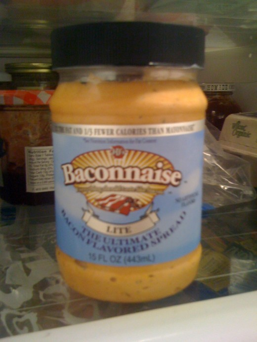 A condiment for the health conscious: Baconnaise Lite. Because someone who adds bacon to their mayo is really worried about fat and cholesterol.