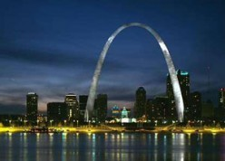St. Louis, Missouri skyline, looking west from the Illinois river front.