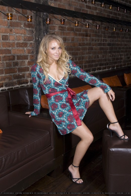 Hayden Panettiere in a sexy photoshoot wearing a short dress and high heels