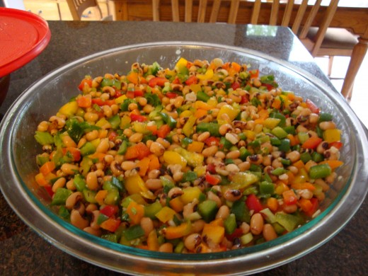 This is two batches of Texas Caviar.