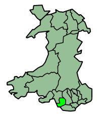 Map location of Bridgend, Wales