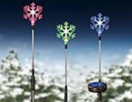 Solar powered snowflake yard stakes