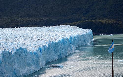 Perito Moreno Glacier, Argentina flag on the right