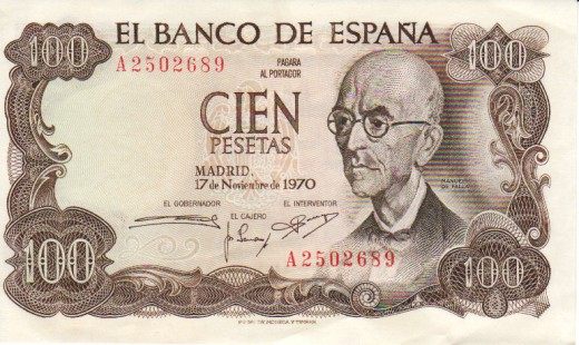 Spain, Franco, bank notes peseta, 100 peseta, later pattern