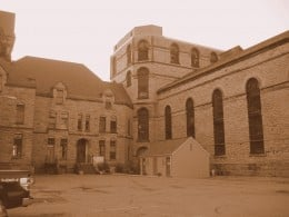 View of side east entrance to the Mansfield Reformatory