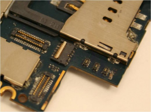 Corrosion and residue build up on the LCD and Touch Screen connector