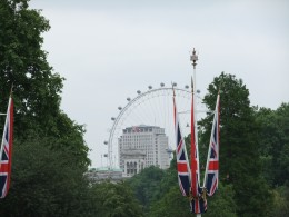 View of the London Eye, taken from the Victoria Memorial in front of Buckingham Palace