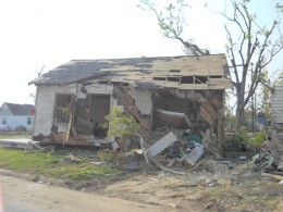 This home was twisted 30 degrees and moved at least 4-feet off the foundation.