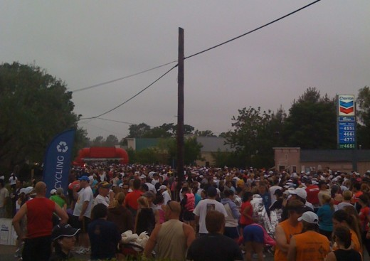 At the start line of the Santa Barbara Wine Country Half Marathon, in Santa Ynez, Calif.