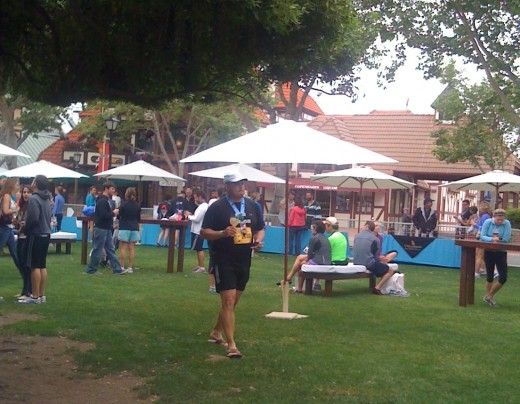 The wine tasting pavilion of the Santa Barbara Wine Country Half Marathon