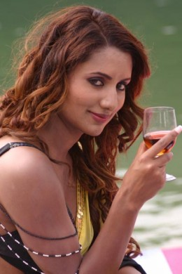 Richa Ghimire sipping wine