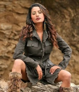 Richa showing attitude in a leather coat