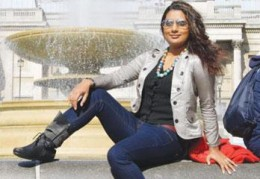 Richa posing in a pair of jeans