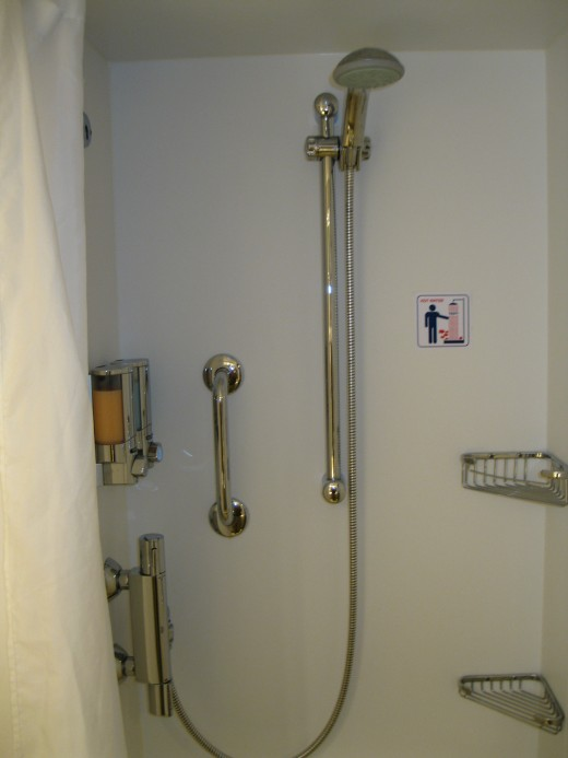 Shower stall in bathroom in our stateroom on the cruise ship Splendida.