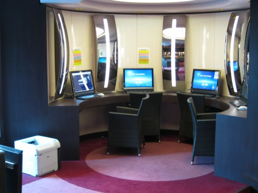 Computers in the library/business center of the cruise ship Splendida