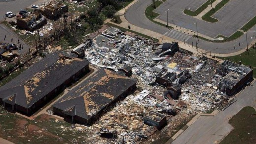 Aerial View of the Alberta Elementry School after the tornado.