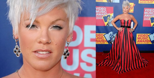 pink hairstyles. Pink was also a winner with her short platinum blond hair, done in a messy