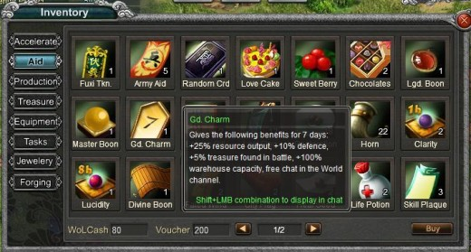 An War of Legends item and its description.