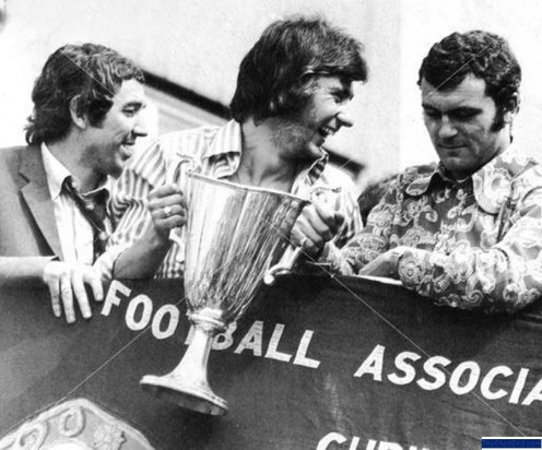 Marvin Hinton, Alan Hudson and Keith Weller with the UEFA Cup Winners Cup in 1971