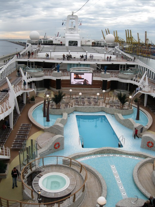 Outdoor pool area on cruise ship Splendida.