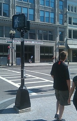 Downtown Boston is great for pedestrians - sidewalks, crosswalks, and generously timed crossing signals mean the pedestrian is always a priority.