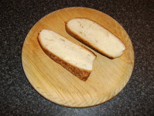 Slices of crusty bread for making bruschetta