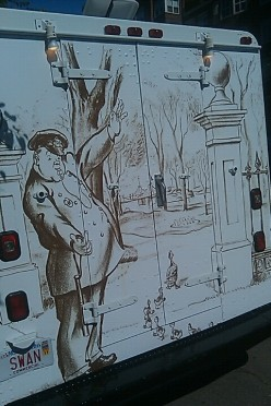 Most days you can find this ice cream truck parked at the corner of the Public Garden, with a scene from Make Way For Ducklings painted on the back! They've got great soft serve.