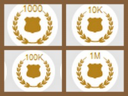 The first 4 page view accolades - but I failed to find anyone with 10M or 100M!