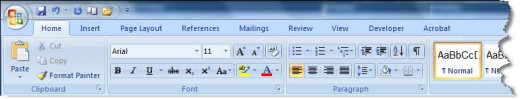 Microsoft Word Ribbon Menu Bar