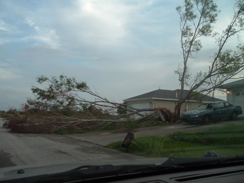 The front of my house after Hurricane Frances.