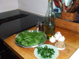 Basil, parsley, garlic, olive oil, chopped walnuts.