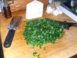 Rough chopped basil.