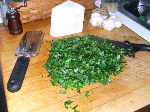 Rough chopped basil.