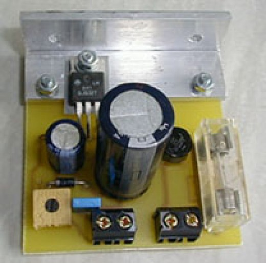 Image Of a LM317 Ic Used as Variable Volatage Regulator in this Electronics Tutorials