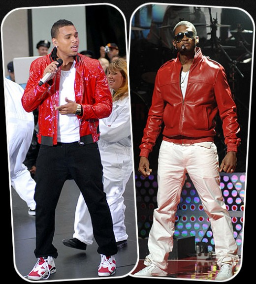 Chris Brown (left), Usher (right)