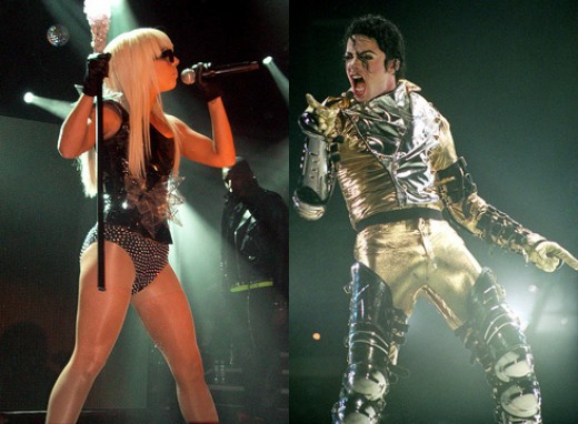 Lady Gaga (left), Michael Jackson (right)