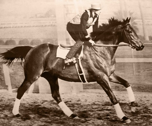 Seabiscuit with his rider George Woolf