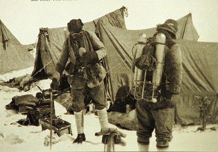 George Mallory and Andrew Irvine preparing to leave on June 8, 1924 for their  Everest summit attempt