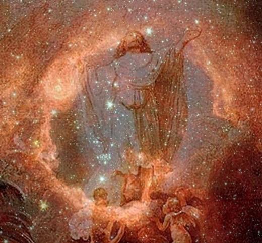 Rembrandt's ascension of Christ, against the backdrop of nebula RCW 79. Nebula courtesy NASA, PD-USGov.