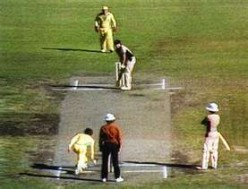 Trevor Chappell sending a rat scurrying. The non-striker, Bruce Edgar, is not amused.