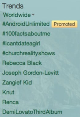 Twitter Trends includes popular HashTags