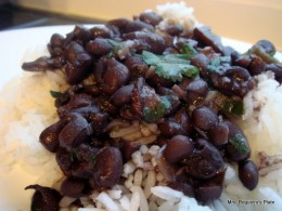 Frijoles Negros over white rice