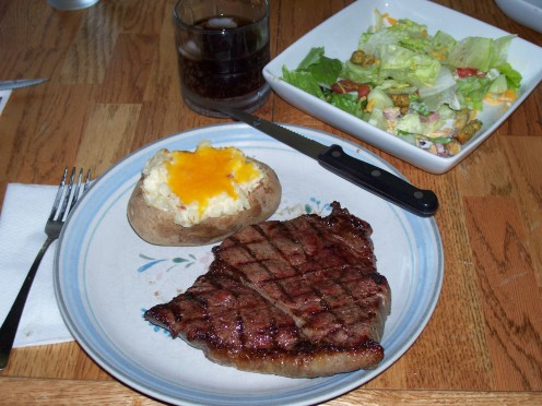 Big Steak, Twice Baked Potato and Salad