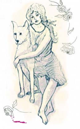 The heroin and her dog in one of my novels.