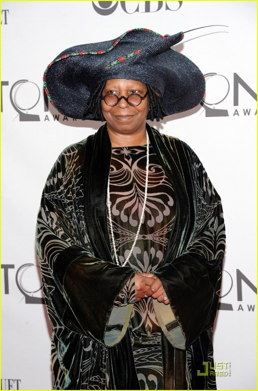 Whoopi Goldberg displays her unusual hat at the 2011 Tony Awards at the Beacon Theatre in New York City.