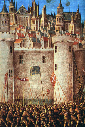 """In Christianity, a more important war is being waged within each of us. Crusades: """"Siege of Antioch,"""" an engraving by Jean Colombe, 1490."""