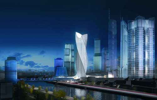 The New Spiral Tower which will lead into Moscow City, Russia's answer to Manhattan