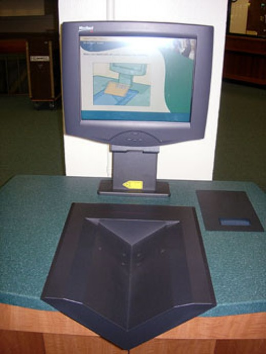 A self-checkout machine in a college library.