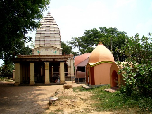 The temple complex, with the main temple on left (white pinnacled)