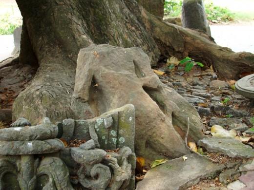 Broken stone idols from a bygone ancient  era